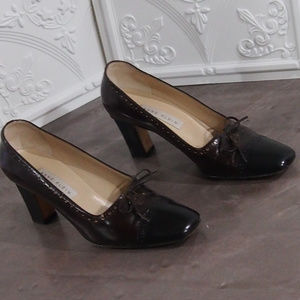 Ann Klein Red Wine Cabernet & Black Leather Shoes